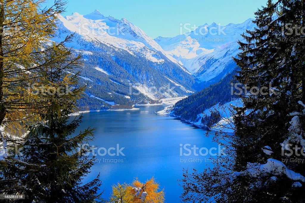 Speicher Durlassboden: alpine lake in Tirol / Zillertal near Gerlos, Austria stock photo