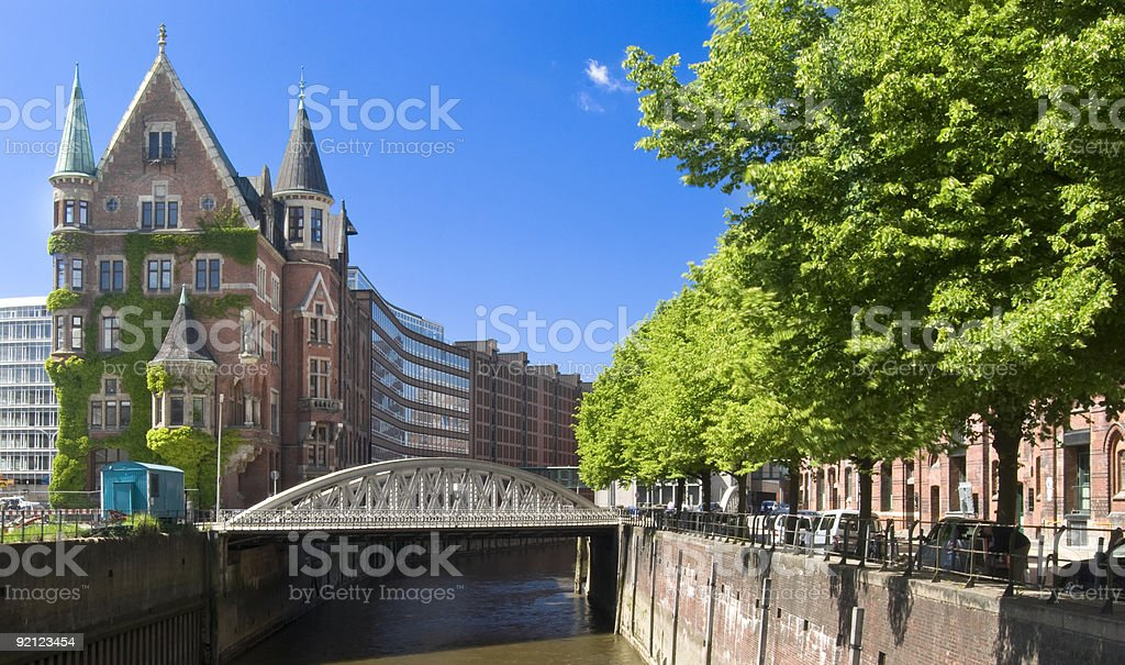 Speicherstadt in Hamburd on a sunny day stock photo