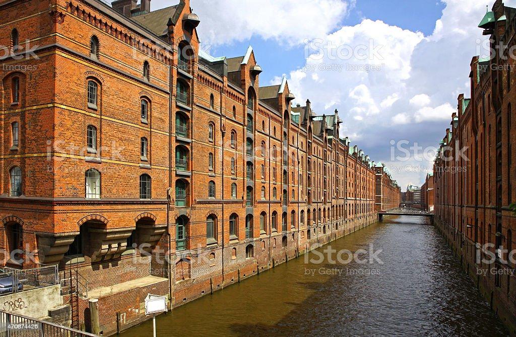 Speicherstadt warehouse district in Hamburg, Germany stock photo
