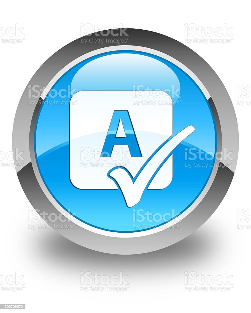 Spell check icon glossy cyan blue round button stock photo