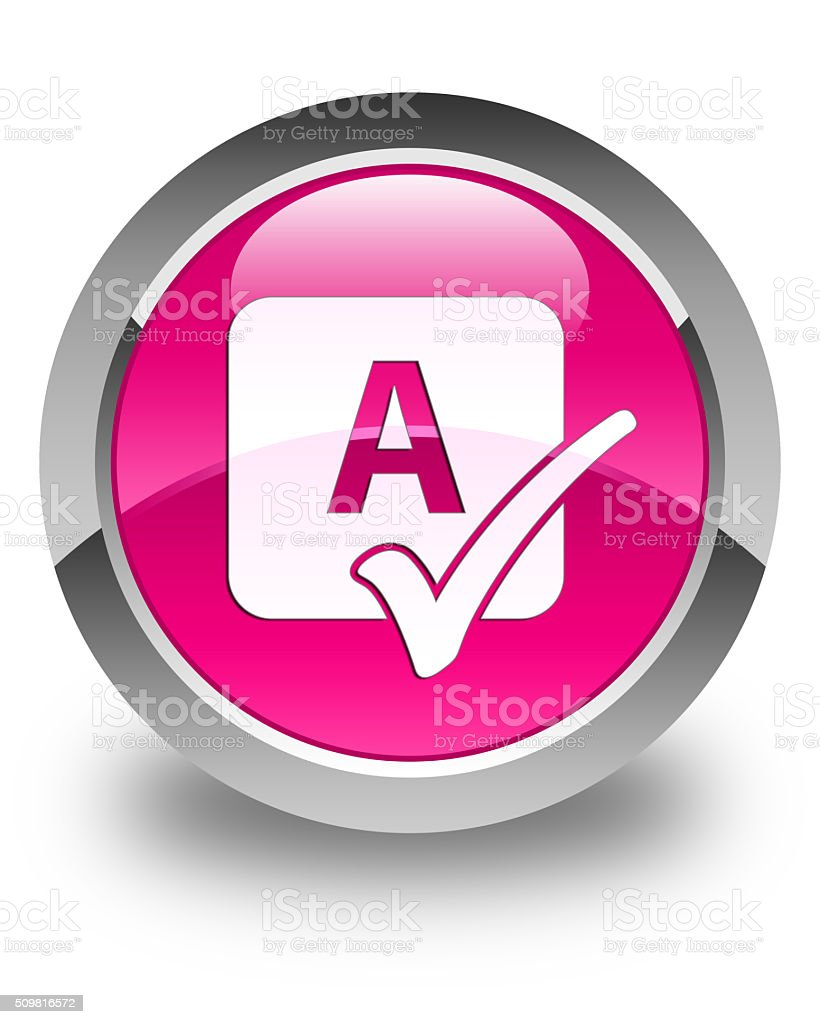 Spell check icon glossy pink round button stock photo