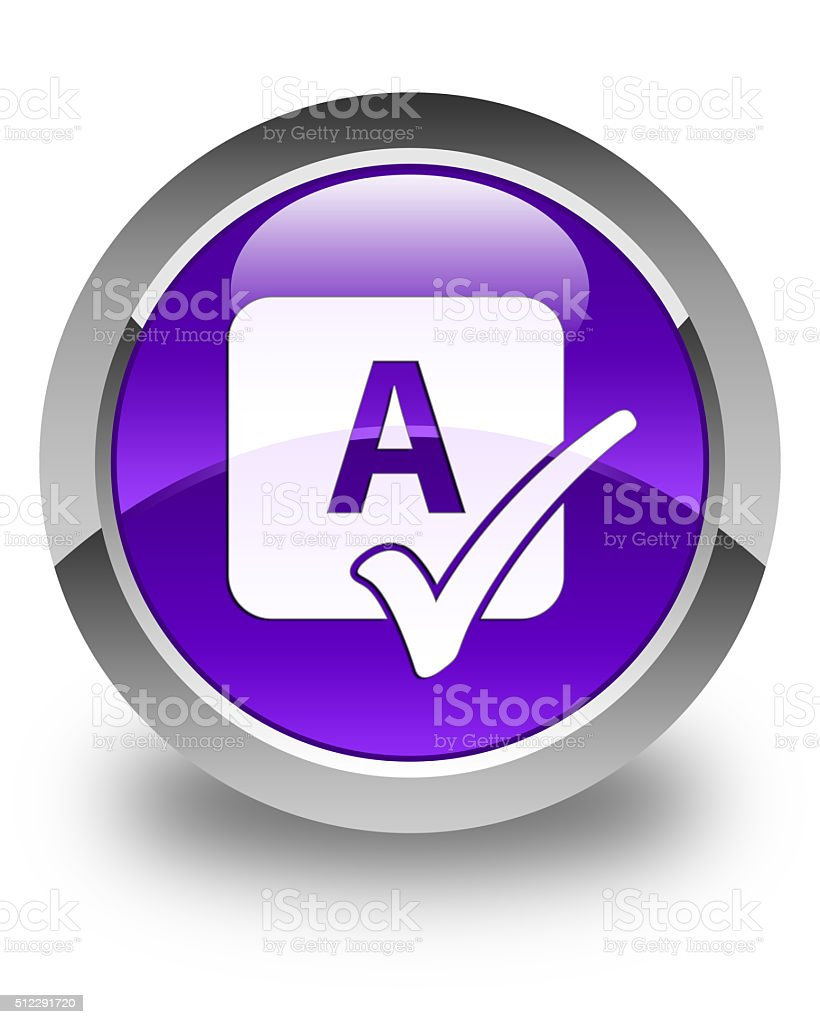 Spell check icon glossy purple round button stock photo