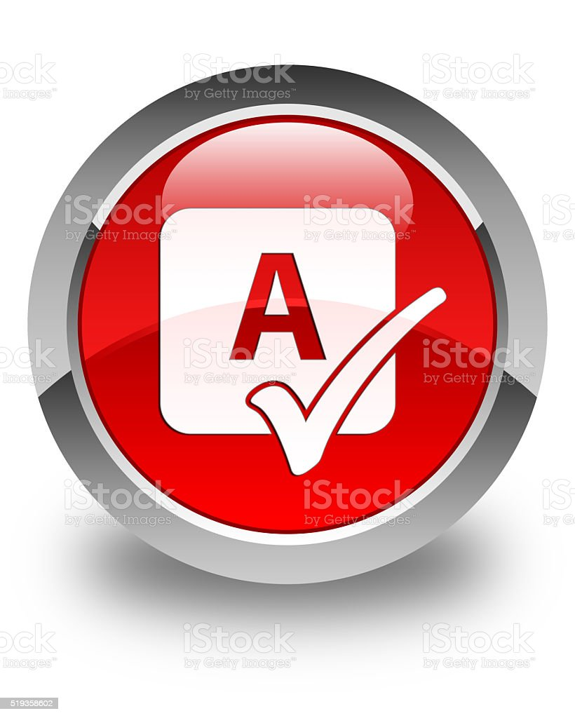 Spell check icon glossy red round button stock photo