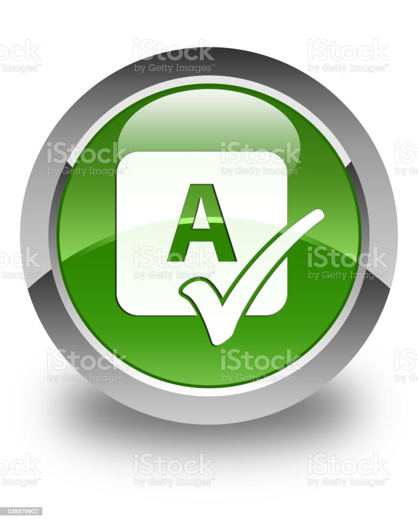 Spell check icon glossy soft green round button stock photo