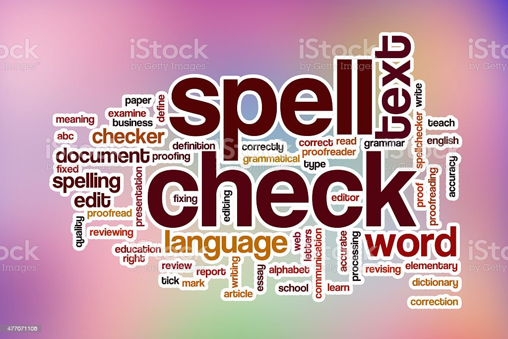 Spell check word cloud with abstract background stock photo
