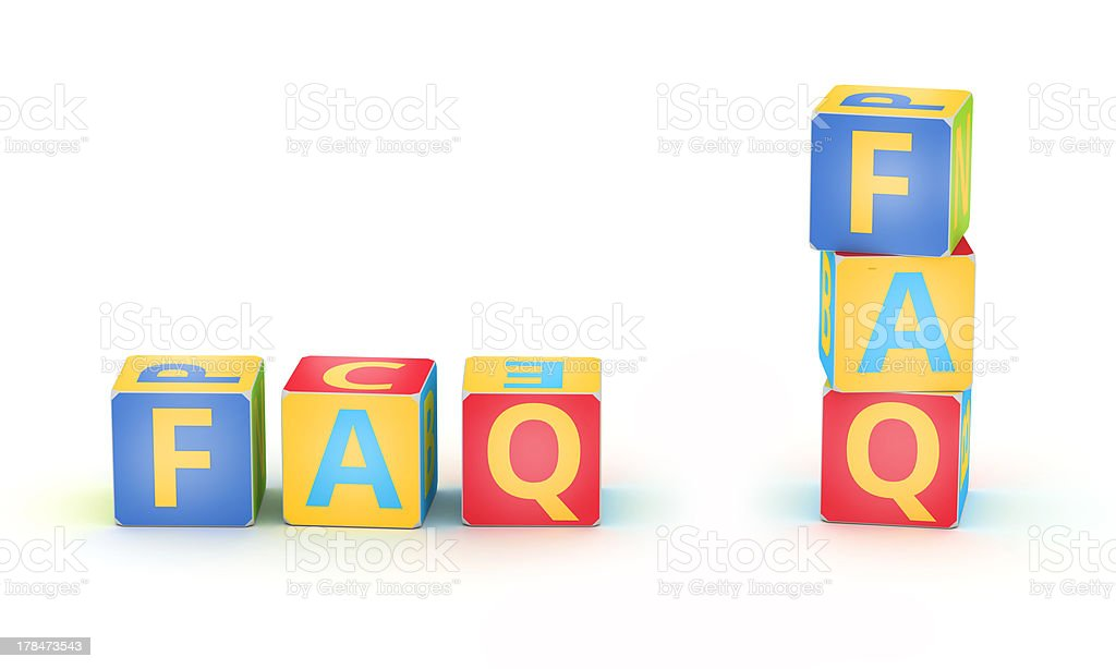 FAQ spelled by abc cubes royalty-free stock photo
