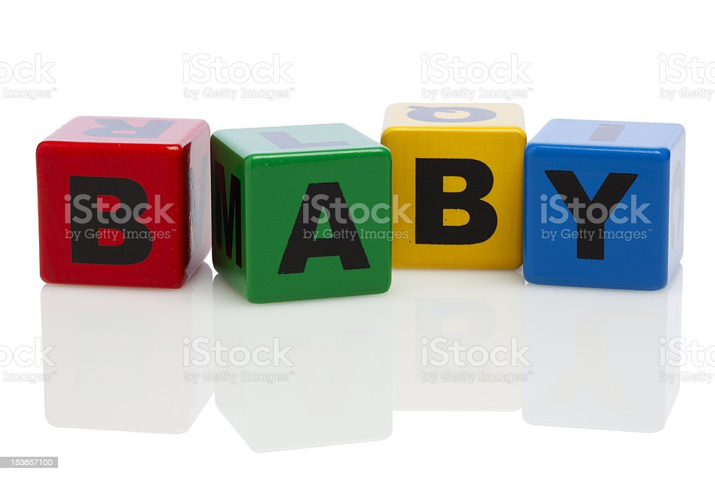 BABY spelled out in alphabet building blocks royalty-free stock photo