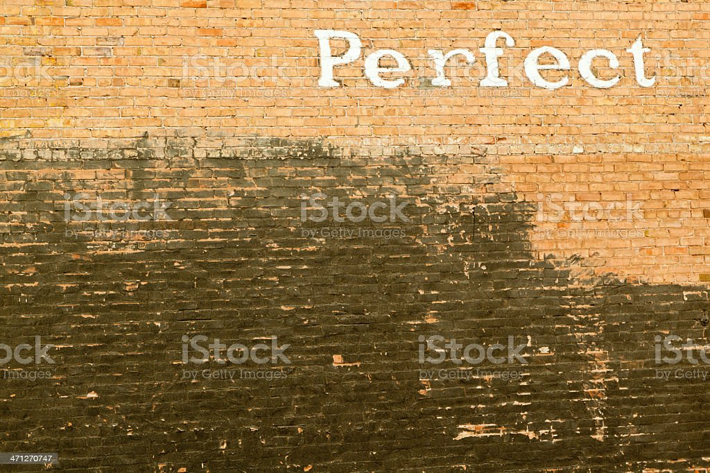 PERFECT Spelled Out On Brick Wall, Grunge, Type royalty-free stock photo