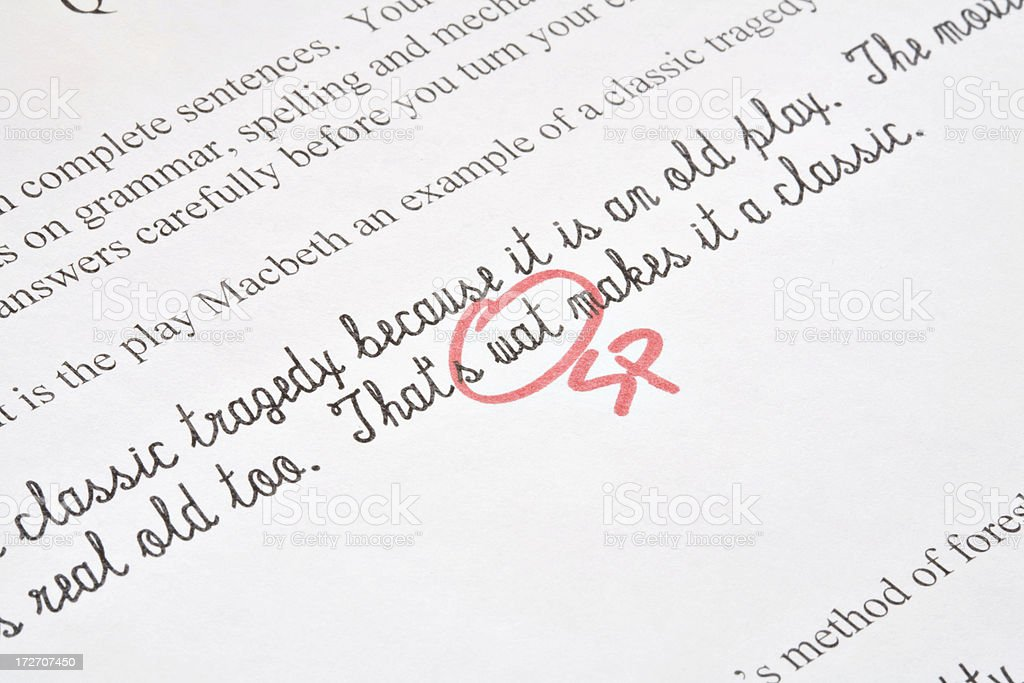 Spelling Correction on Test royalty-free stock photo