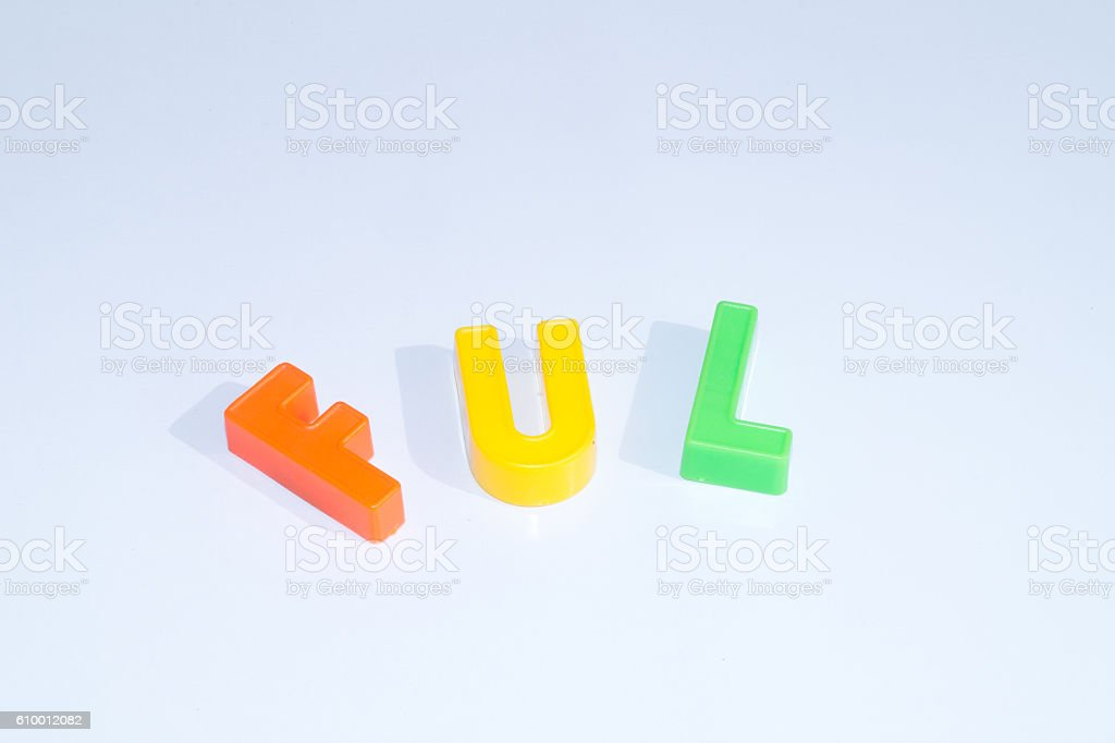 spelling from plastic letters stock photo