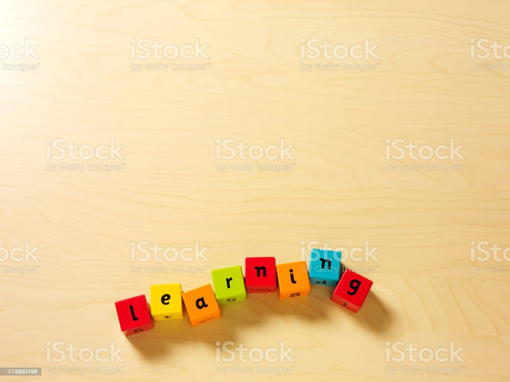Spelling Learning with Children's Building Blocks royalty-free stock photo