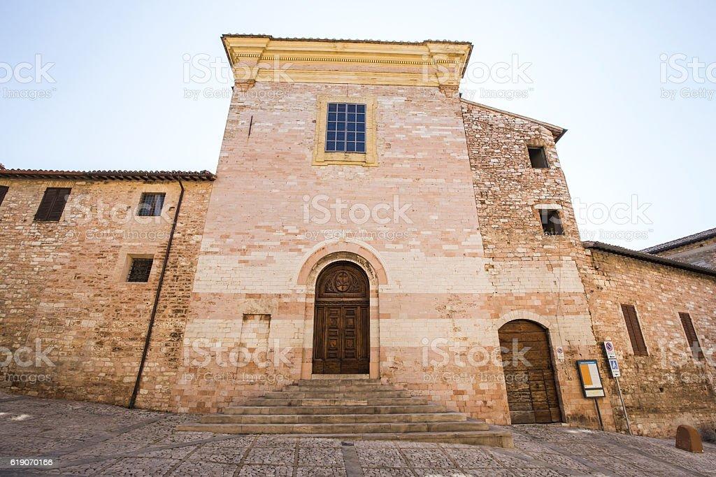 Spello. Saint Andrea church in Umbria in Italy stock photo