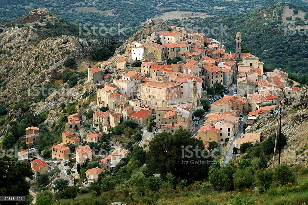 Speloncato mountain village, Corsica stock photo