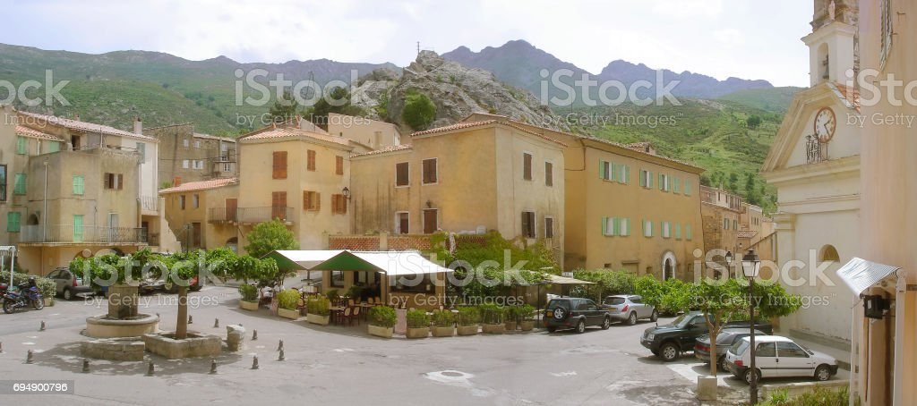 Speloncato village in Haute Balagne region of Corsica island stock photo