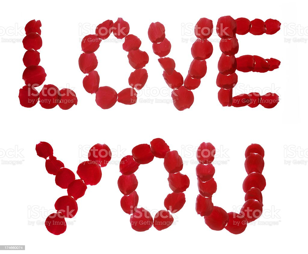 LOVE YOU spelt out in rose petals stock photo