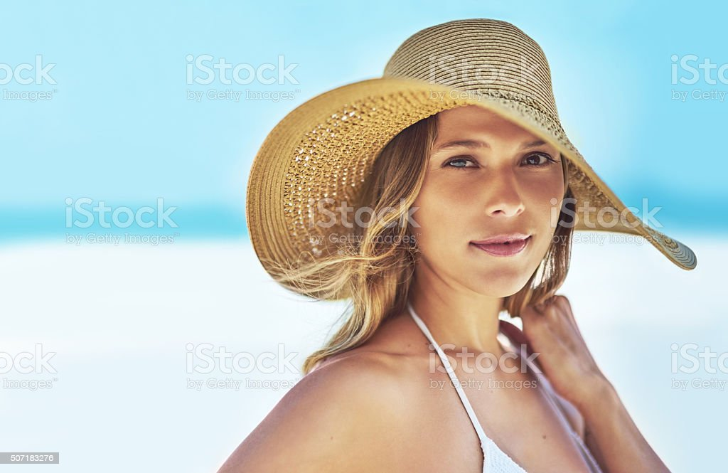 I spend my summers down at the beach stock photo