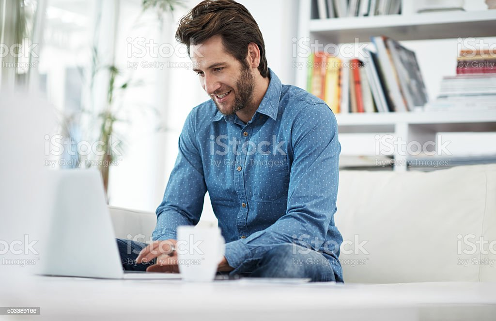 Spending a little time online stock photo