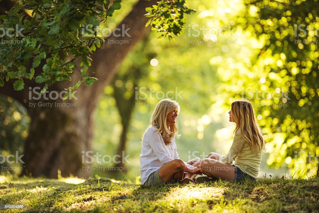 Spending a little time outdoors stock photo