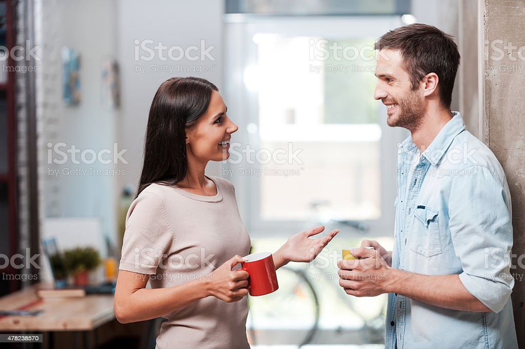 Spending a nice coffee break. stock photo