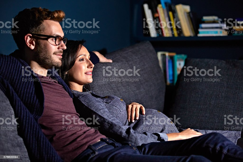 Spending a relaxing evening at home stock photo
