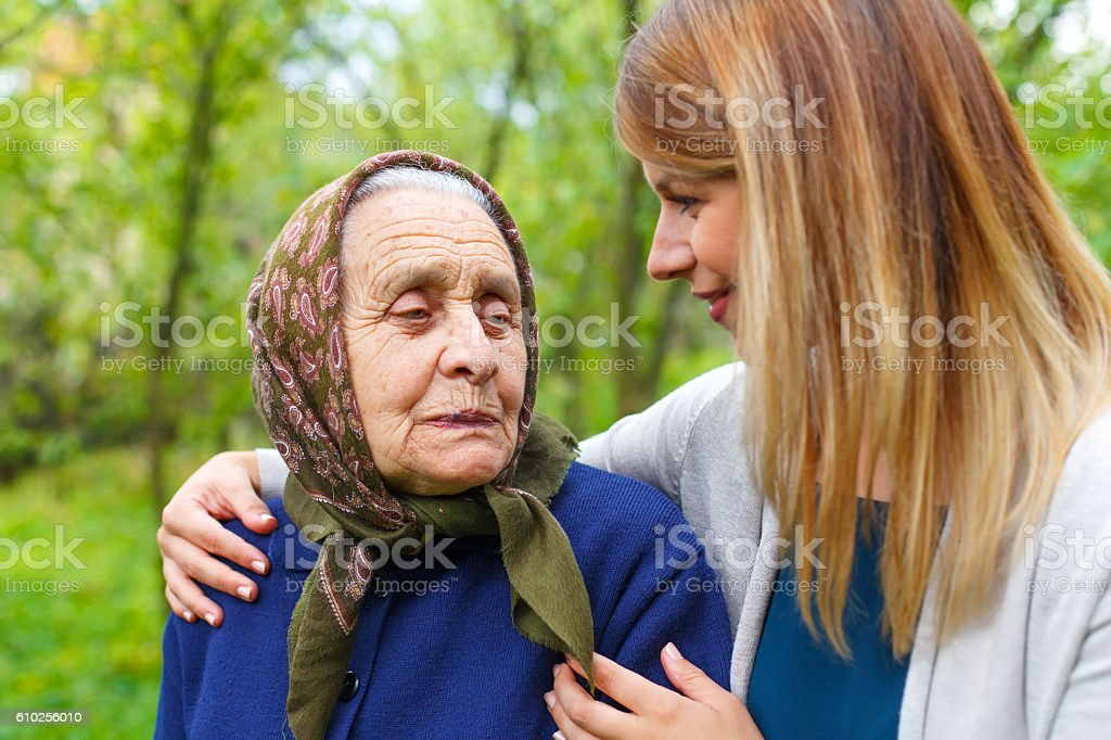 Spending time with grandma stock photo