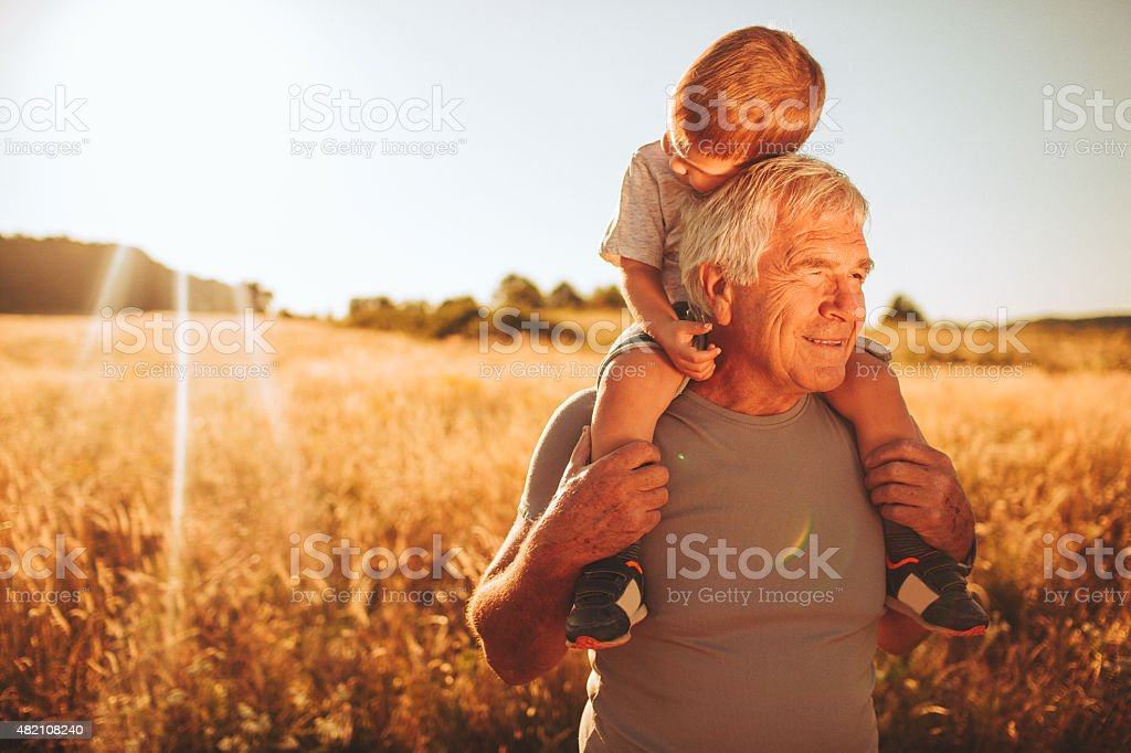 Spending time with my grandson stock photo
