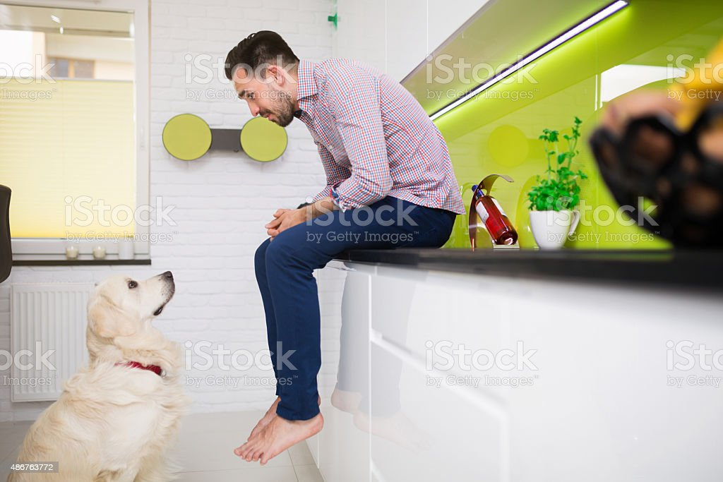Spending time with your best friend stock photo