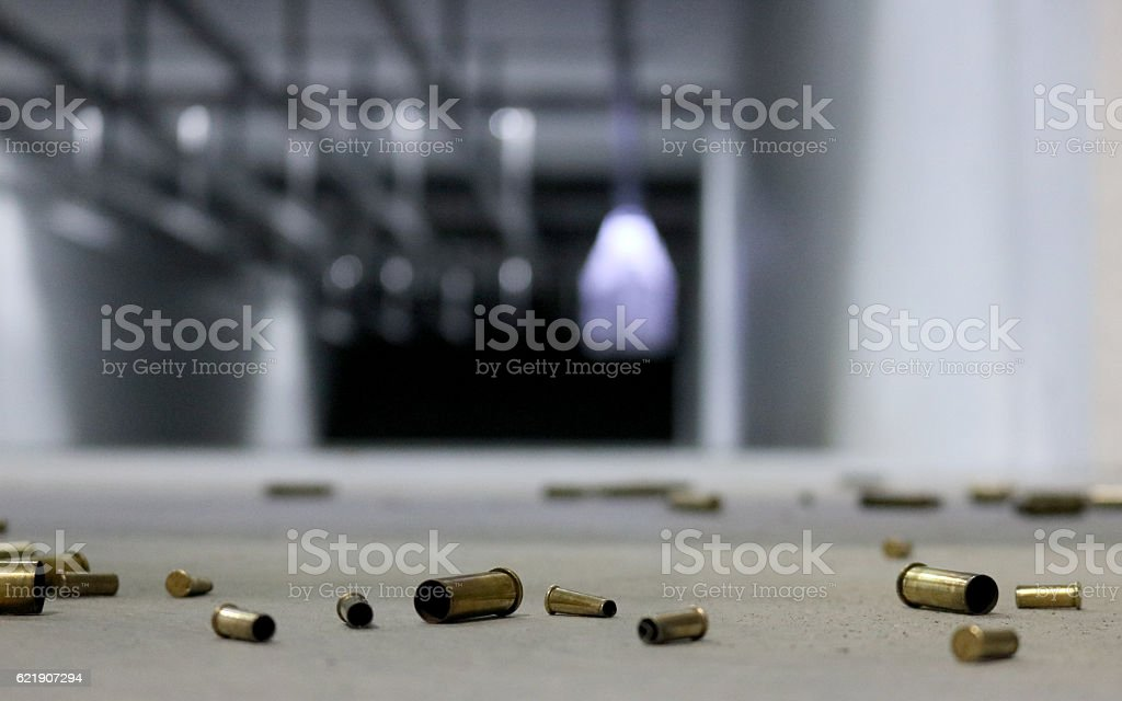 Spent Bullet Casings on the floor stock photo