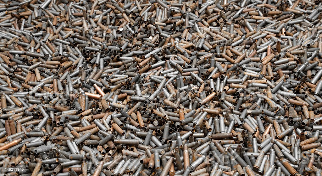 Spent bullet casings (angle view) royalty-free stock photo