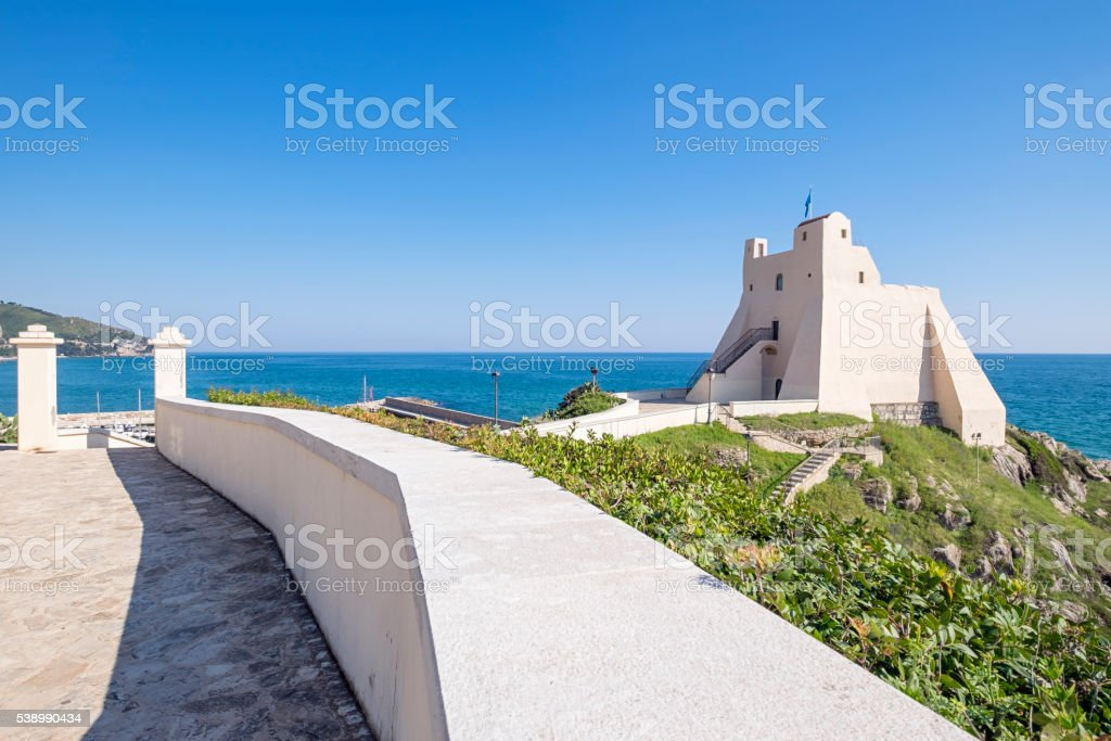 Sperlonga Truglia Tower as seen from the right side. stock photo