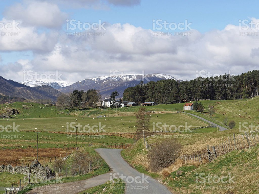 Spey valley, west of Laggan, Scotland in spring stock photo
