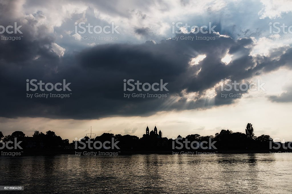 speyer rhine with cloudy smiley stock photo