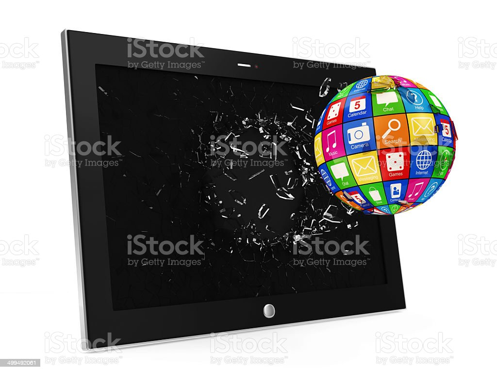 APPS Sphere Breaking Through From Tablet PC Display royalty-free stock photo