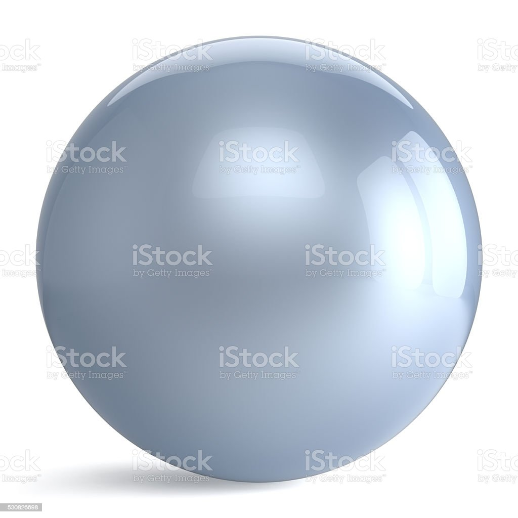 Sphere button round white silver ball geometric shape basic stock photo