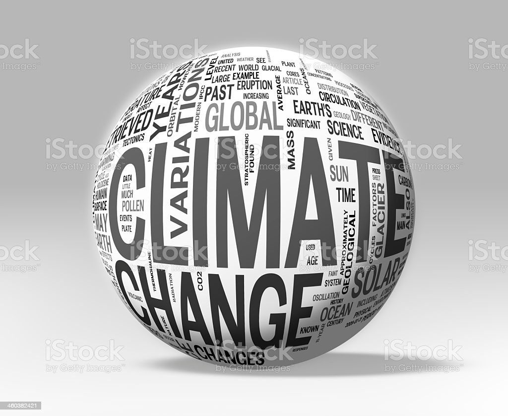 A sphere design in black and white to discuss climate change stock photo