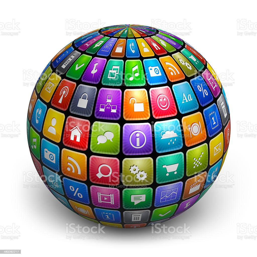 Sphere from color application icons stock photo