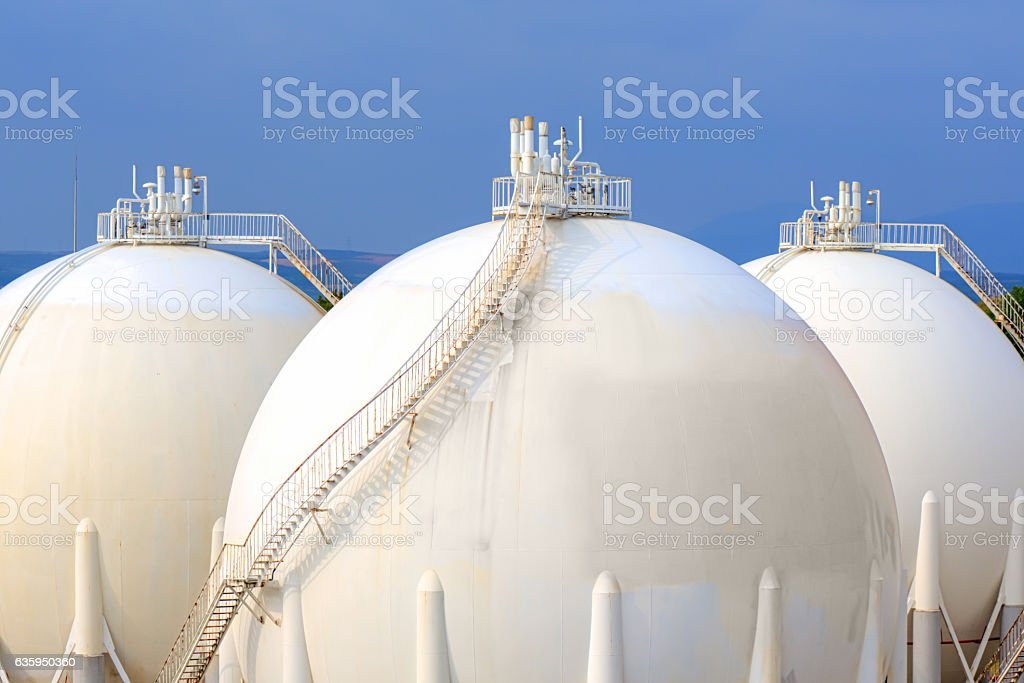 Sphere gas tanks on Petrochemical Plant stock photo