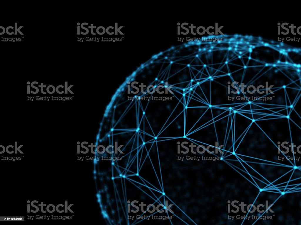 Sphere geometry orb and polygonal lines and dots. Futuristic Technology stock photo
