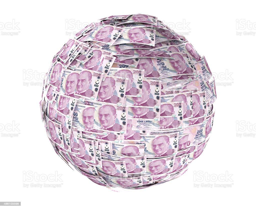 Sphere Made Turkish Liras stock photo