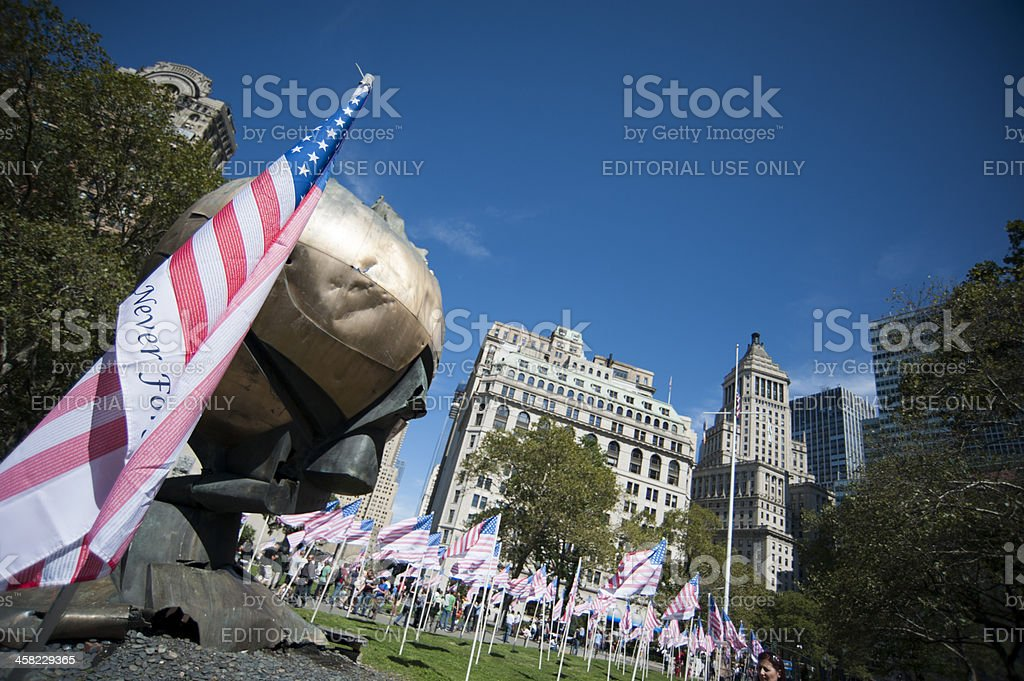 Sphere monument with flag royalty-free stock photo