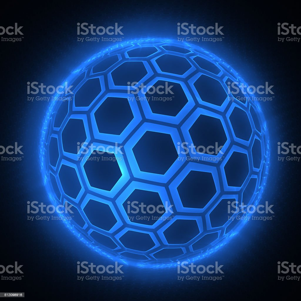 sphere of hexagons, futuristic design element stock photo