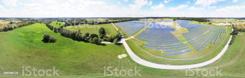 360 sphere panorama Aerial view of Solar panels Photovoltaic systems stock photo