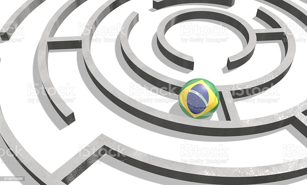 Sphere textured by Brazil flag inside the maze stock photo