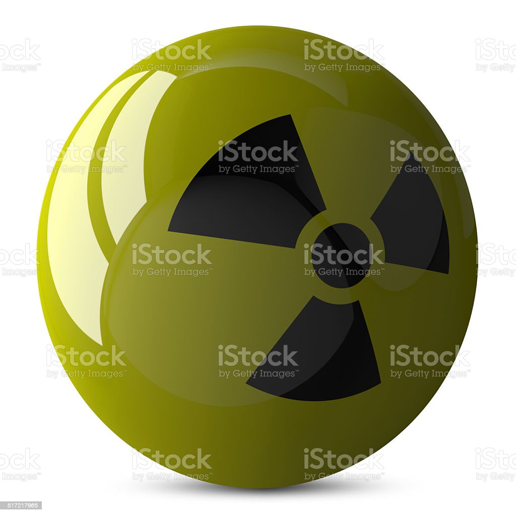 Sphere with radiation sign isolated stock photo