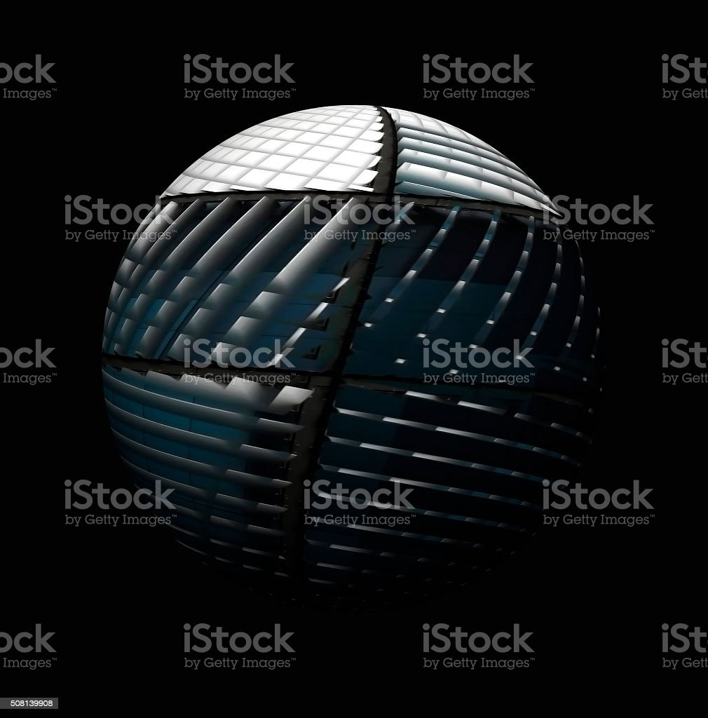 Sphere with reticulate technological content. Globe depicted in hi-tech manner. stock photo