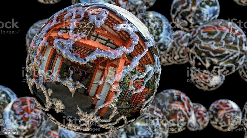 Spheres in Japanese Garden stock photo