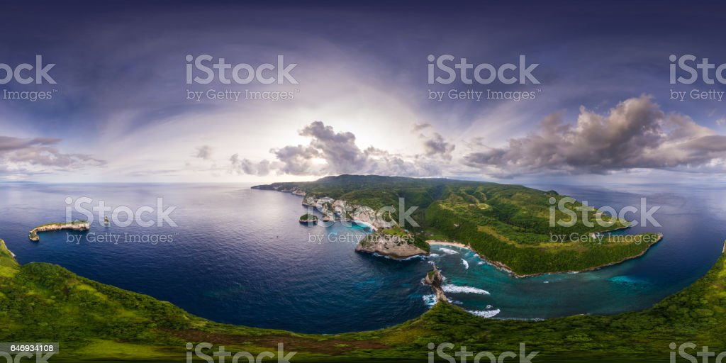 Spherical, 360 degrees, seamless, aerial panorama of the coastli stock photo