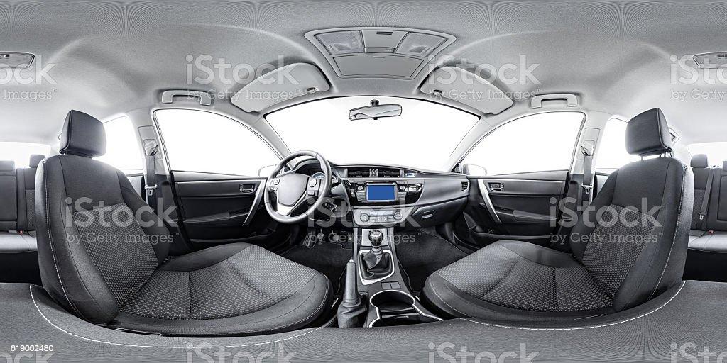 spherical 360 panorama of car stock photo