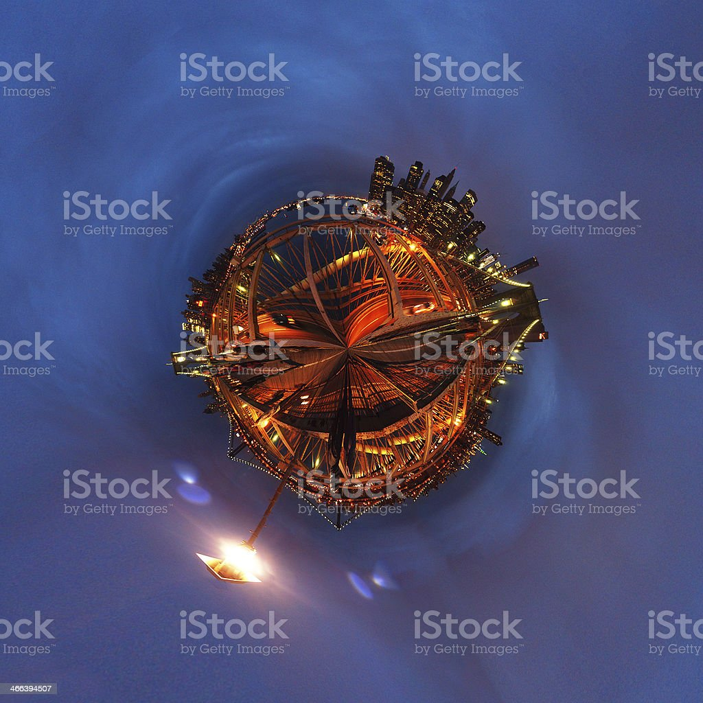 Spherical Brooklyn Bridge royalty-free stock photo