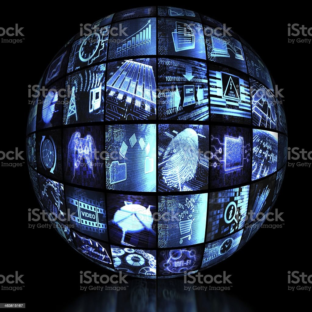 Spherical video wall royalty-free stock photo